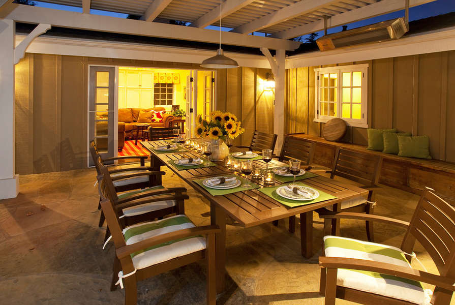 Outdoor dining patio off Media Family Room