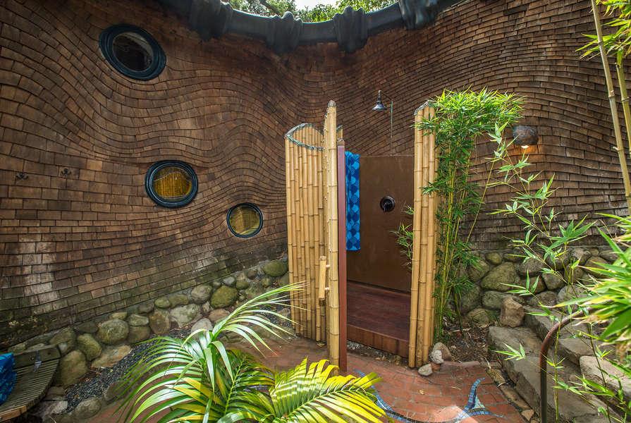 The outdoor shower in central garden
