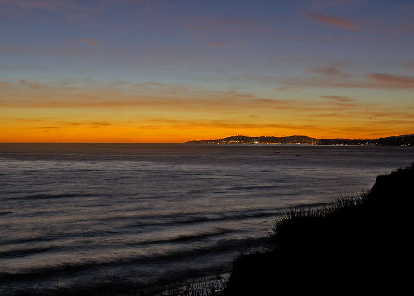 The lights of Santa Barbara in the distance
