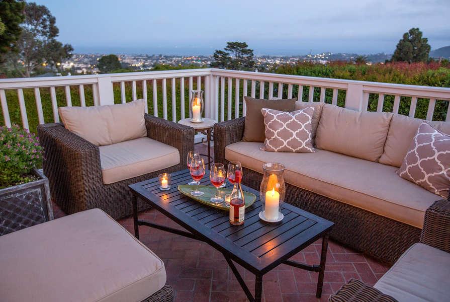 Ocean View deck overlooks city lights