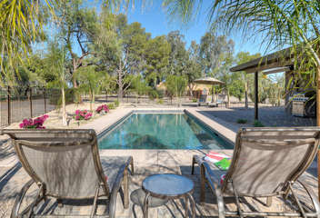 Backyard offers a private paradise where everyone can enjoy sunny and warm weather even during the winter months