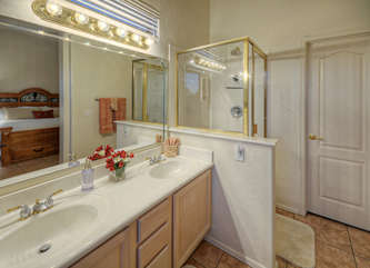 Master bath has dual vanity sinks