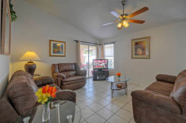 Great room is wonderful gathering area to watch TV or plan exciting excursions