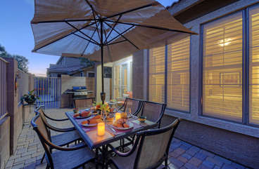 Celebrate warm and sunny days and nights in amazing Arizona on private patio with comfortable outdoor furnishings