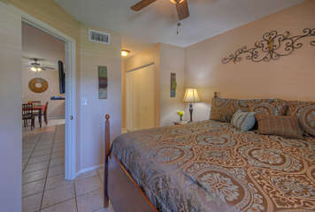 Split bedroom floor plan allows privacy for couples or a family