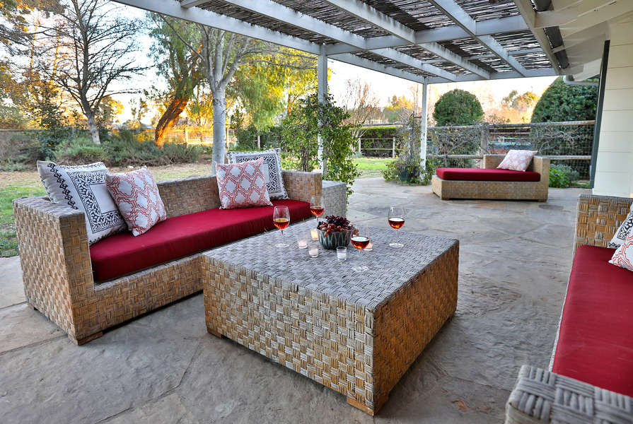Outside seating on the back patio