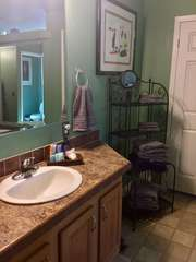 Both vanities have adequate space for completing personal hygiene and primping before you head out to enjoy the local sights