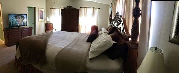 Split floorplan enhances privacy for all. Master bedroom features satellite television.