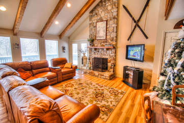 111 Skiway Living Room with Game Table and Fireplace
