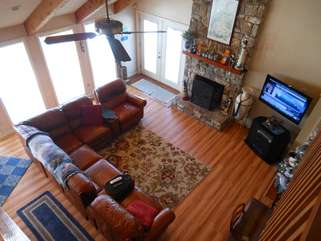 111 Skiway Living Room Viewed from Loft towards TV and Fireplace