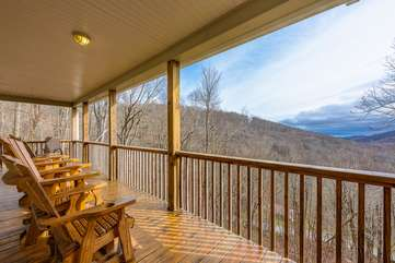 Covered Porch with Comfortable Rockers to enjoy the Long-Range Views from Wildlife Manor