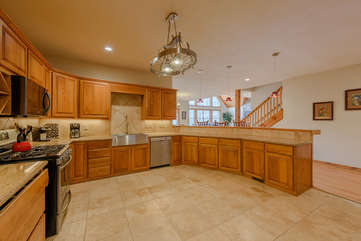 Wildlife Manor Gourmet Kitchen with lots of beautiful granite counter tops and stainless appliances