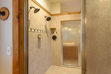 Wildlife Manor Large Custom Tiled Double Shower with Dual Heads in Master Bath