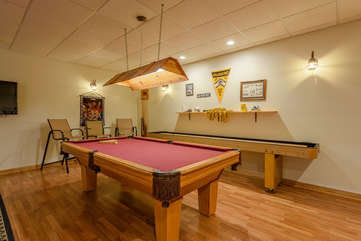 Pool Table and Shuffleboard Table in Game Room