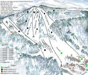 Map of Slopes on Beech Mountain. 112 Skiway is located on Lower Shawneehaw, just at the base of Robins Run.