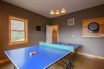 Ping Pong Table and Dartboard Downstairs in Game Room