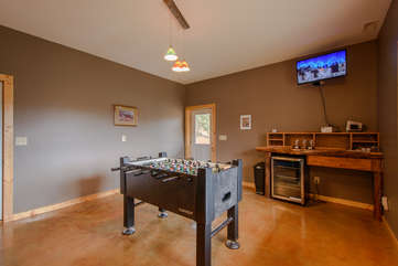 Game Room with Foosball Table and Flatscreen TV
