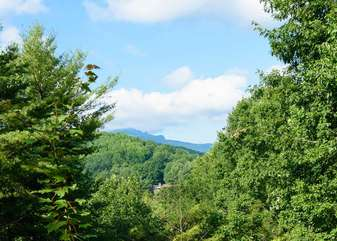 View of Grandfather Mountain from deck