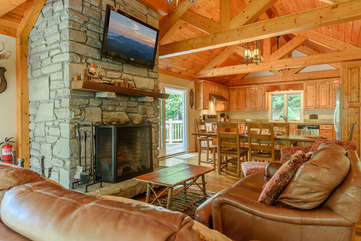 Comfortable Living Area with wood-burning fireplace