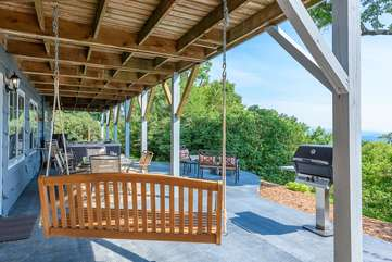Swing, Grill, and Lots of Seating on Lower Porch