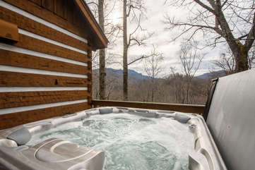 Big Rock Lodge Winter-time view of Grandfather Mountain from hot tub