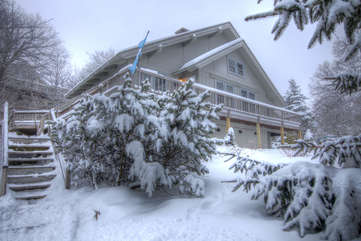 Blue Heaven Chalet front of home during winter season