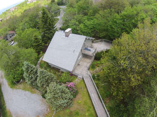Blue Heaven Chalet aerial of back of home