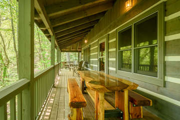 Upper Level Porch with Comfortable Seating, Outdoor Dining