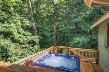 Looking from the Main Patio down at the Hot Tub