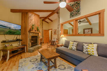Cozy living area with gas log fireplace at Fiddlestix 114