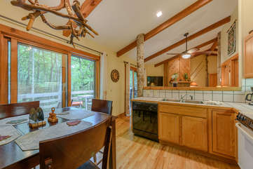 Kitchen and Dining with access onto back deck at Fiddlestix 114