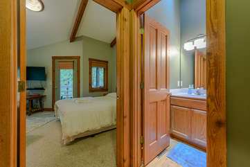 Second bedroom with bath beside, private deck