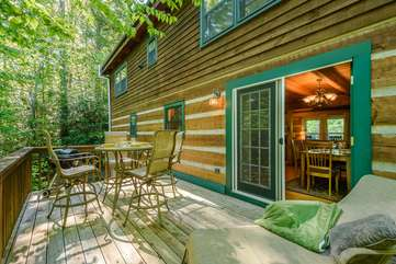 Back Deck in Peaceful Wooded Setting