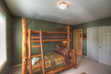Twin over Full log-hewn bunk beds