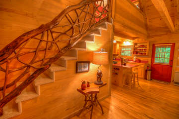 Lazy Bear Cabin Entry Area and Stairs to Loft