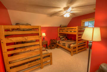 Lazy Bear Cabin 2 Sets of Single Over Double Bunks in Loft