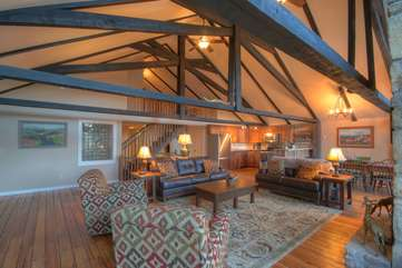 Majestic Mountain Haus Great Room on main level with Vaulted Ceilings