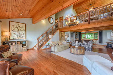 Living Room with Rustic Twig Wood Staircase
