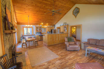 North View Lodge open Living, Dining, Kitchen with Hickory floors