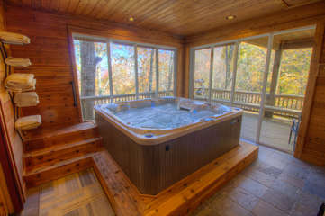 North View Lodge Indoor and Outdoor Hot Tub Room with pocket Glass Doors