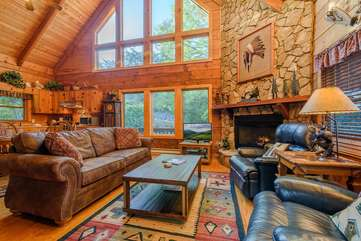 Whispering Pines Living Room with Fireplace