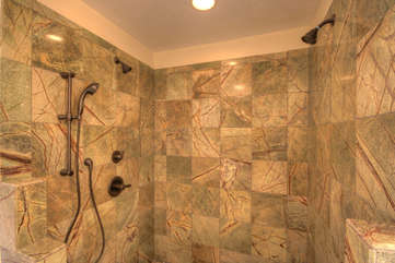 Whispering Hills Upstairs Master Suite Bath with Large Marble Shower with Multiple Shower Heads