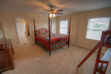 Whispering Hills Bedroom 5 with Queen Bed and Bunk Beds Sleeps 4