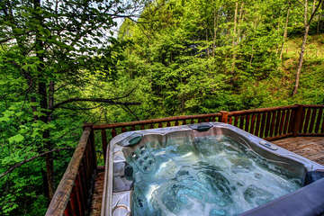 Twin Hollows Hot tub looking out over view