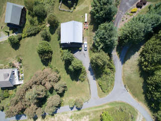 Aerial view looking down on the property