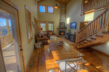 Skyland Cabin open Dining and Great Room