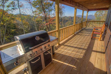 Skyland Cabin Front Covered Deck with Stainless Gas Grill