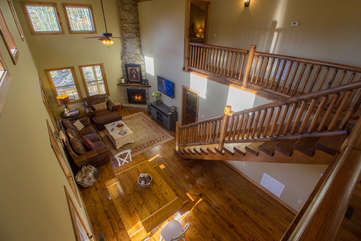 Skyland Cabin Looking down into Great Room from Loft