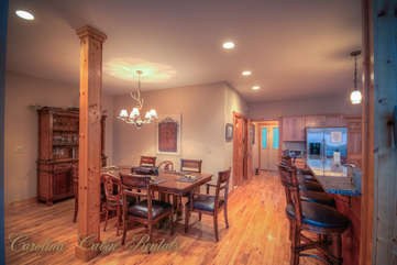Pinecone Manor Dining Area and Kitchen Island Bar