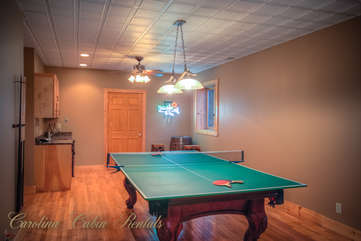 Pinecone Manor Ping Pong Table in Game Room